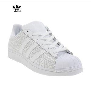 Adidas Superstar Womens Snakeskin White Sneakers